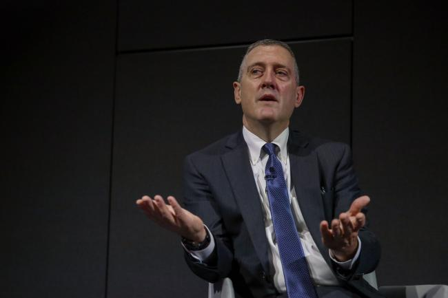 © Bloomberg. James Bullard, president and chief executive officer of the Federal Reserve Bank of St. Louis, gestures while speaking at the 2019 Monetary and Financial Policy Conference  at Bloomberg's European headquarters in London, U.K., on Tuesday, Oct. 15, 2019. Bullardsaid U.S. policy makers are facing too-low rates of inflation and the risk of a greater-than-expected slowdown, suggesting he'd favor an additional interest rate cut as insurance.