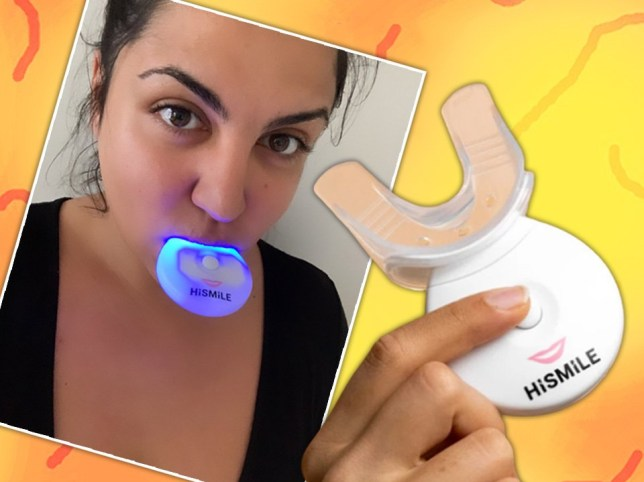 Journalist Almara Abgarian with the HiSmile glowing in her mouth and a hand holding up the HiSmile machine