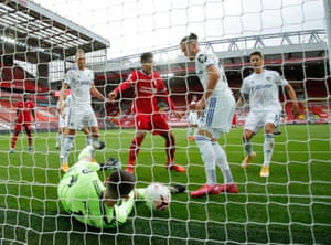 The Leeds goalkeeper, llan Meslier, can't stop Virgil van Dijk scoring Liverpool's second goal after the captain was left totally unmarked.