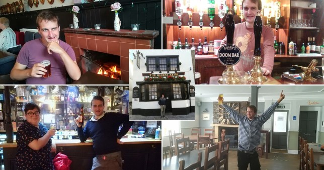 Ben Barton, who went on a pub crawl,  pictured in various pubs