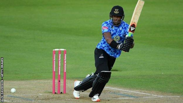 Sussex all-rounder Delray Rawlins had a great game with bat and ball, hitting an unbeaten 62 off 33 balls as well as taking 2-25