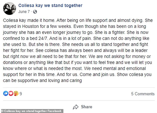 A Facebook page setup to keep friends and family updated about her post-surgery wrote in June that she was back home 'after being on life support and almost dying' following gastric surgery