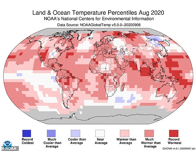 During August 20202 the temperature was, on average, 2.14°F (1.19° C) higher than the average August temperature of the 20th century, before the Industrial Revolution