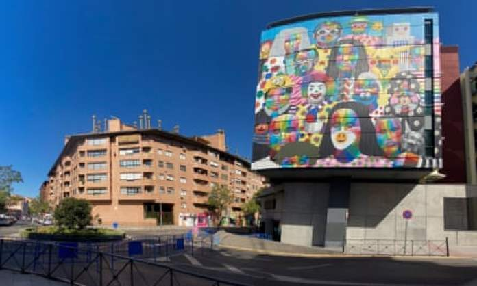 Another of Okuda works, a mural on the town hall in Fuenlabrada, Madrid