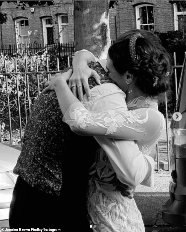 Newlyweds! Jessica also shared a sweet black-and-white photo embracing Ziggy outside after their nuptials to her Instagram account