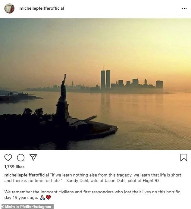 Remember: Michelle Pfeiffer shared a message along with a snap of the twin towers before the attacks on September 11 2001