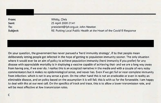 Professor Whitty said the situation where herd immunity would be aimed for would be with a vaccine