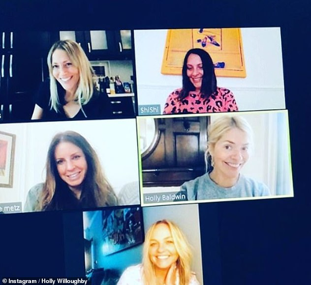 Close-knit: The presenter, 39, had been keeping in touch with Baby Spice, 44, the All Saints star, 45, and their other friends over Zoom during the coronavirus pandemic
