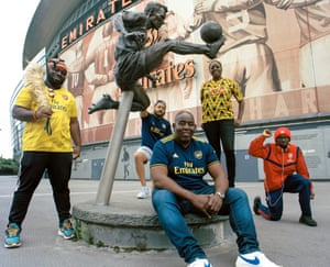 Robbie Lyle (front centre) with other members of Arsenal's Influencers at the Emirates Stadium (left to right Kelechi (Anyikude), Troopz (back), Robbie Lyle, Pippa (Monique), Ty )