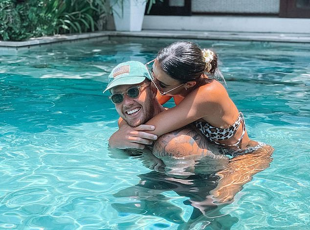 Luck of the draw: Tayla, who rose to fame as the winner of Love Island's first season in 2018, said: 'I was really lucky for the hub I was in, but I can't really speak for the other hubs though.' Pictured withNathan during a previous holiday