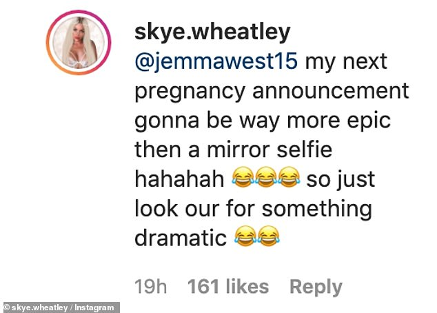 Well that clears things up! Skye eventually confirmed that she isn't pregnant and that her next baby announcement will be 'far more epic than a mirror selfie'