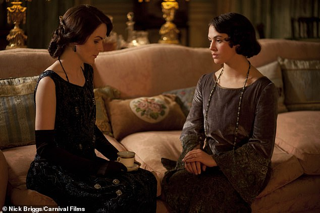 Co-stars: Jessica pictured alongside Michelle Dockery as Lady Mary Crawley in the hit ITV period drama