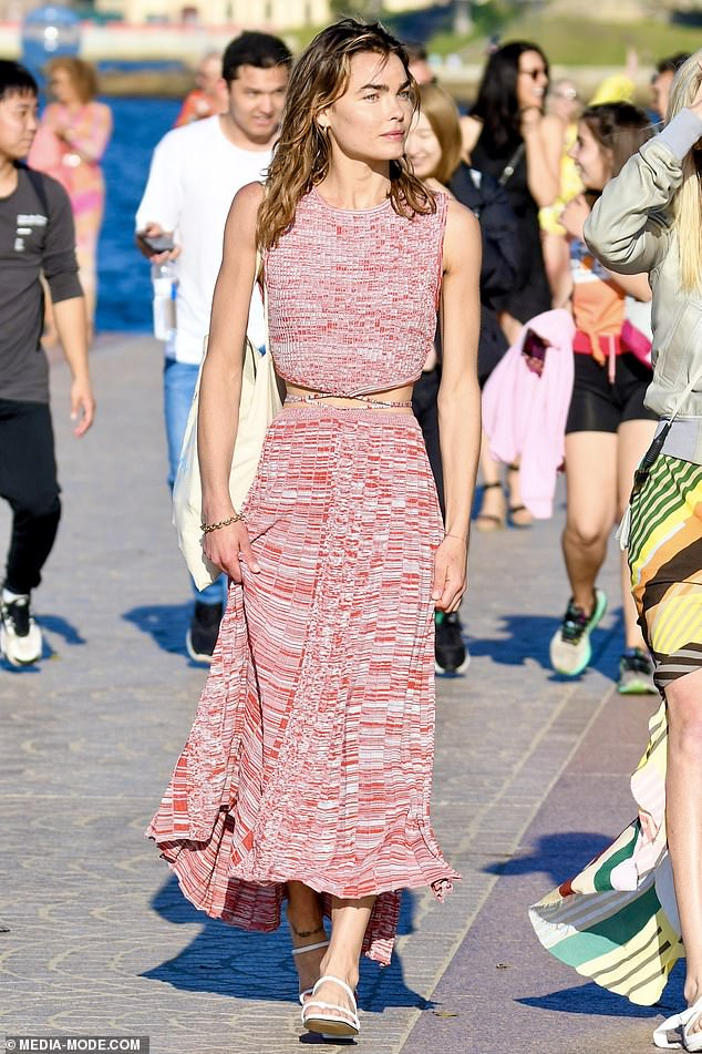 Model coming through! Bambi-Northwood Blyth, 29, displayed her very slender frame and tiny waist in a matching knitted top and skirt as she strutted along the Sydney Opera House forecout on Sunday