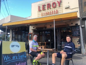 Martin Wells and Craig Murphy outside Leroy Espresso in Melbourne.