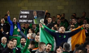 Republic of Ireland fans protest against John Delaney at a Euro 2020 qualifier home match against Georgia in 2019.