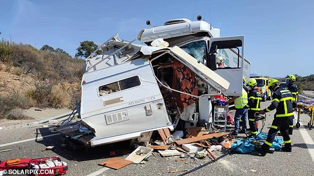 The unnamed Brit died instantly in the crash (pictured) last Friday afternoon on the A-381 motorway close to the town of Los Barrios near Gibraltar