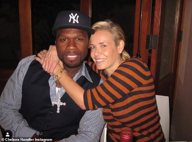 Former flames: Chelsea Handler called out ex-boyfriend 50 Cent (seen together in 2011) for endorsing Donald Trump for president