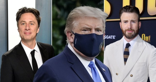 Chris Evans and Zach Braff lead reactions as Donald Trump leaves hospital after coronavirus treament pics: Getty