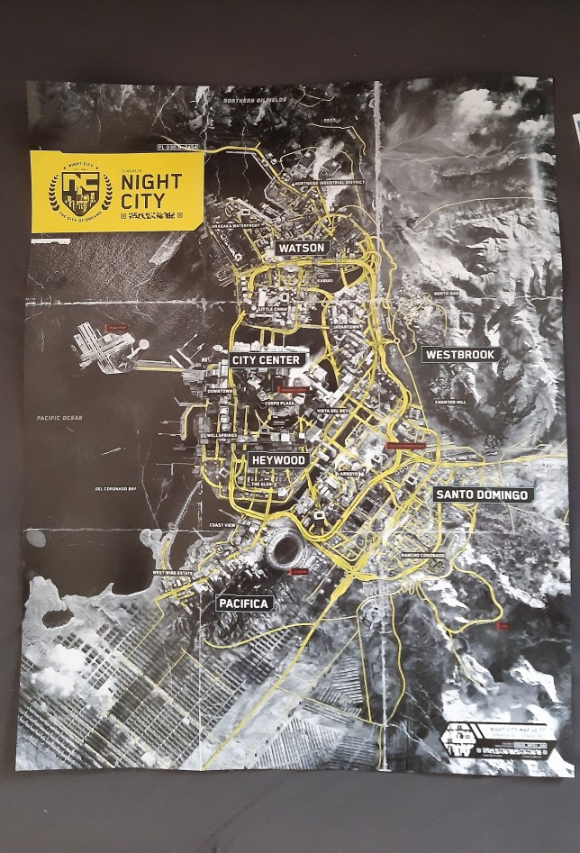 Cyberpunk 2077 map postcards physical copies