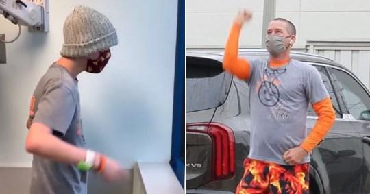 Dad dances outside hospital window to entertain sick son