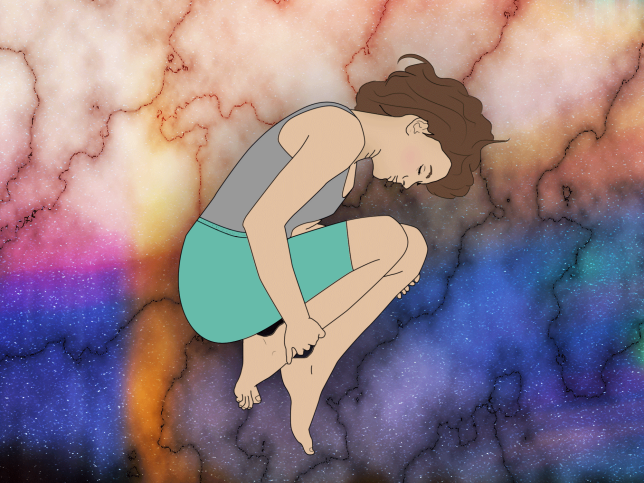 Illustration of a woman in child pose against a colourful background