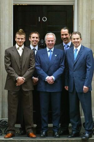 Gareth Souhtgate (second left), David Beckham, Sven-Goran Eriksson, David Seaman and then prime -minister Tony Blair outside No 10 Downing Street