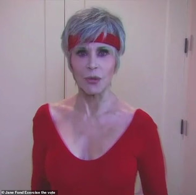 Exercise your right to vote! Jane Fonda, 82, gets back to her eighties workout video heyday in a new celebrity-filled clip, encouraging people to register to vote in the US 2020 elections