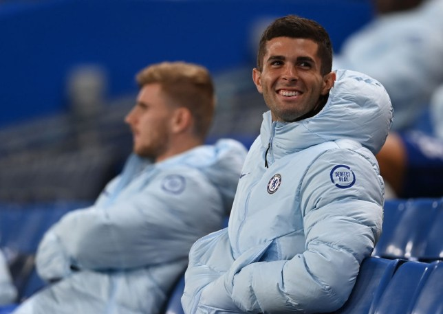 Christian Pulisic of Chelsea looks on from the stands during the Carabao Cup third round match between Chelsea and Barnsley at Stamford Bridge on September 23, 2020 in London, England. Football Stadiums around United Kingdom remain empty due to the Coronavirus Pandemic as Government social distancing laws prohibit fans inside venues resulting in fixtures being played behind closed doors.