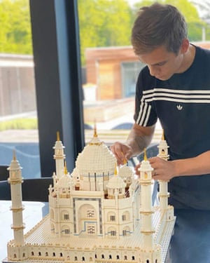 Leandro Trossard applies the finishing touches to his Lego Taj Mahal: 'It filled a lot of hours.'