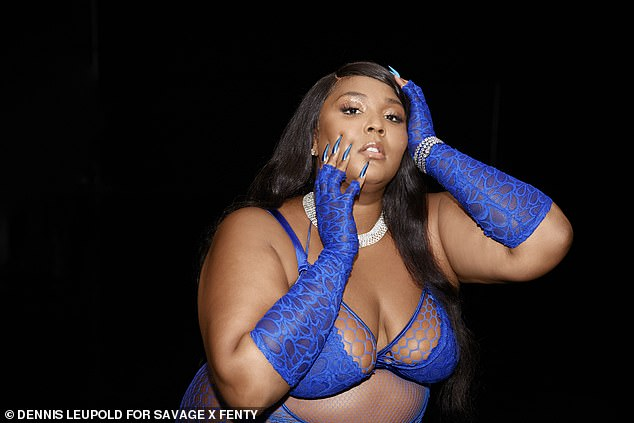Good as Hell: Lizzo commanded attention in a lacy blue lingerie set during Rihanna's star-studded Savage X Fenty show, released on Amazon Prime today