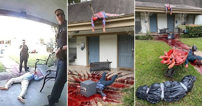 gory zombie-themed halloween decorations