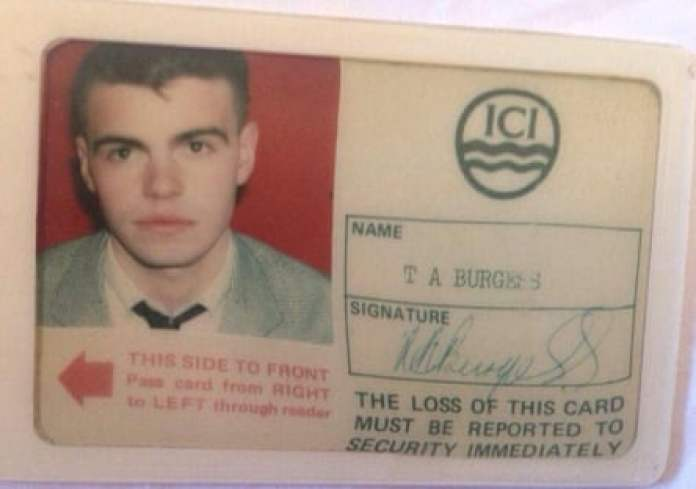 Tim Burgess's ID card when he worked at ICI Runcorn.
