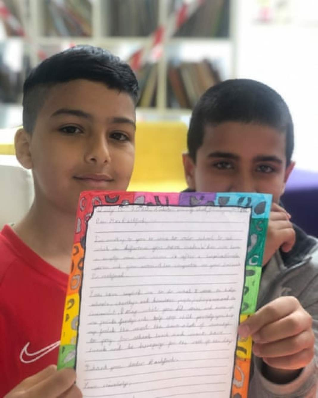 Two Anderton Park pupils with their letter for Marcus Rashford.