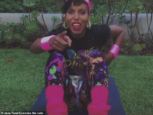 It's a Scandal if you don't vote: Kerry Washington gets in on the '80s fun