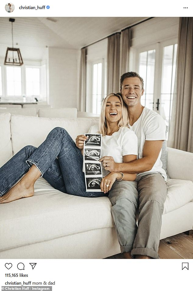 Excited: Huff posted a similar photo on Instagram of the couple laying back on their couch as they both held on to the sonogram snaps