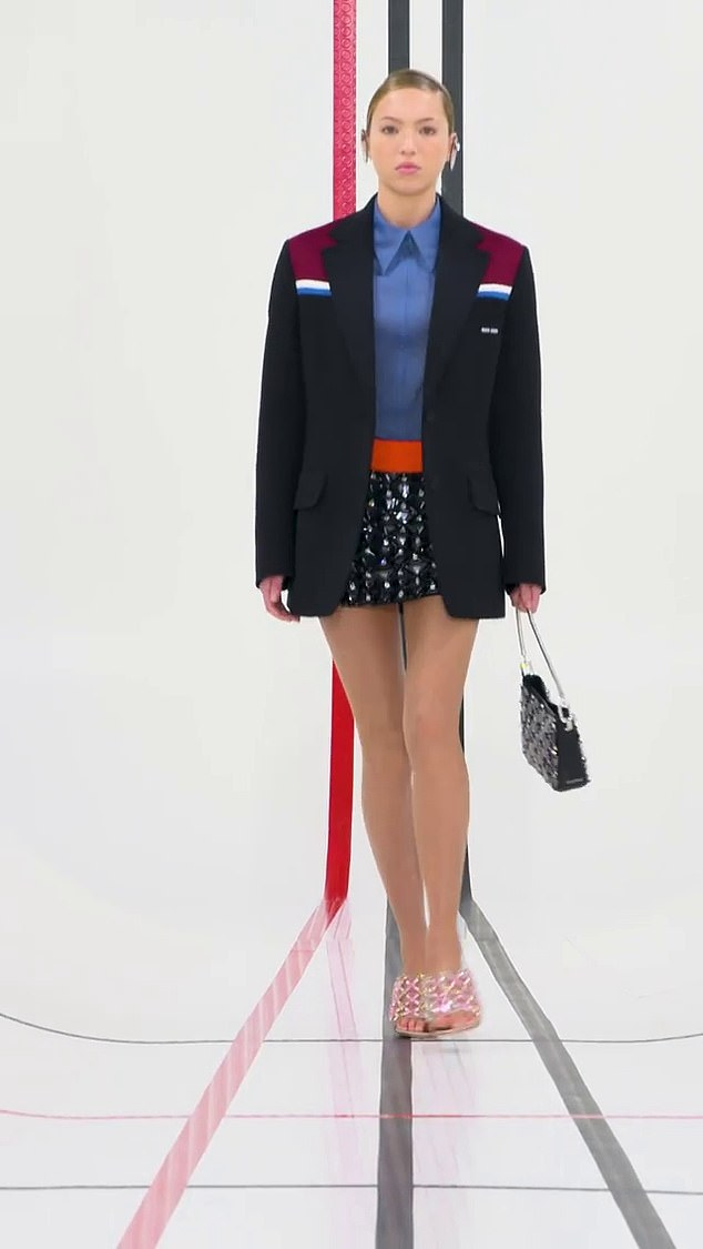 Style: Lila's second look was a structured black boyfriend blazer with colour block detailing, teamed with a blue blouse and beaded skirt