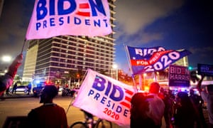 Supporters gather in Miami as Joe Biden's election campaign arrives for Monday's town hall.