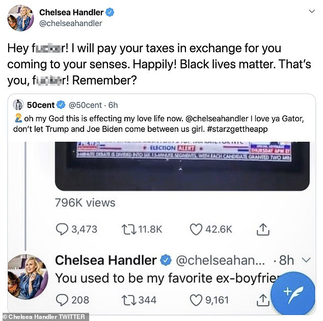 'In exchange for you coming back to your senses':Chelsea kept the conversation going as she retweeted her ex's latest tweet and even offered to pay his taxes