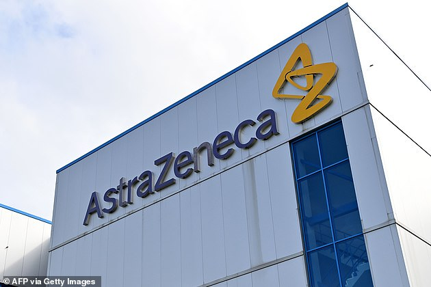 Health officials say testing of the vaccine will continue despite the volunteer's death, but it is unclear if the vaccine is linked to the deat. Pictured: AstraZeneca's offices inMacclesfield, Cheshire, England, July 21