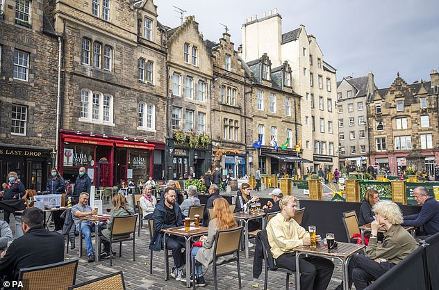 Coronavirus social distancing measures seen being observed at a restaurant in Edinburgh