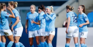 Chloe Kelly celebrates with teammates after scoring against Tottenham this month.