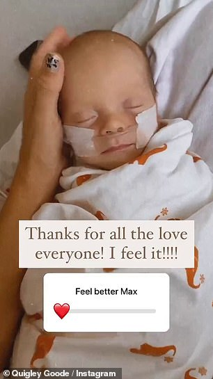 Status: 'Good morning from me and Max,' Casey said while letting Max rest in her lap. 'I think it's Tuesday and I just wanted to update you and let you know Max is doing good and doesn't have a fever anymore but he's still on and off oxygen'