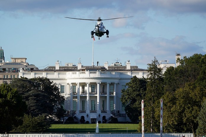 Trump travelled a few miles from the White House to Walter Reed by helicopter. He is said to be very fatigued and short of breath but doing well