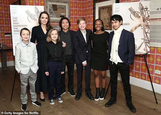 Final resolution: Angelina with their six children, Maddox, 19, Pax, 16, Zahara, 15, Shiloh, 14, and twins Knox and Vivienne, 12, pictured last February in New York City