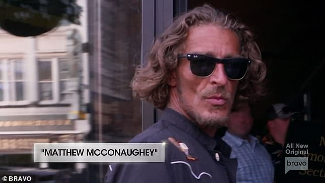 Famous actor: The Biermanns were shopping in a hat shop when Kim urged Ariana to chase down 'Matthew McConaughey' and she ran down the street and retrieved him