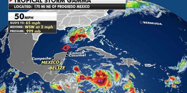 Tropical Storm Gamma is stalled off the coast of Mexico's Yucatan Peninsula on Monday.
