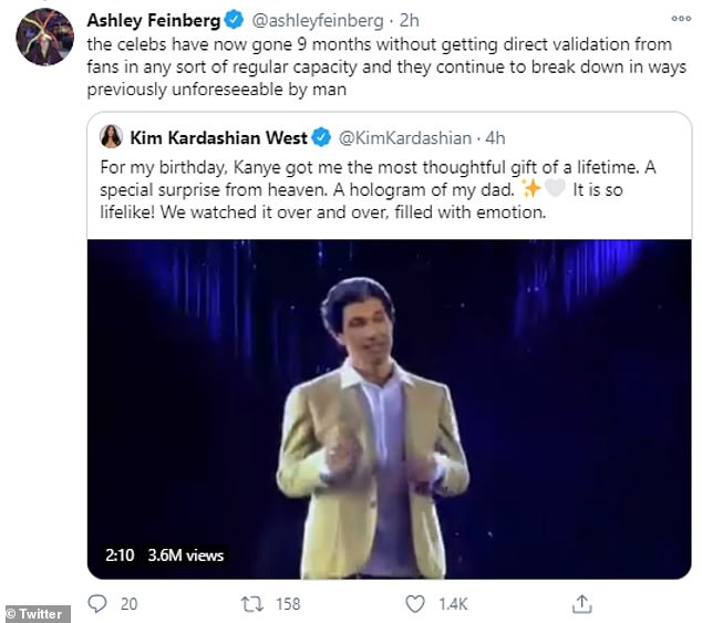 Seeking attention:Many viewed Kim's decision to share the hologram's existence with the public as a means to to achieve 'validation' from fans