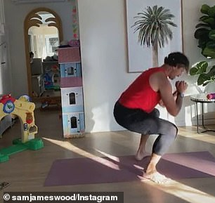 Working up a sweat: Gym owner Sam has shared a handful of videos of himself working out in the luxury home and exercising outside near the shed