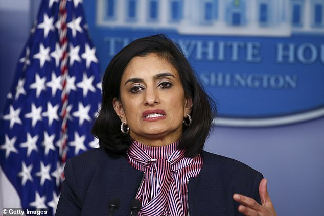HHS is threatening to cut off of Medicare and Medicaid funding for hospitals that do not report data on coronavirus and influenza patients said by Centers for Medicare and Medicaid Services Administrator Seema Verma. Pictured: Verma speaks at the daily coronavirus briefing at the White House in April 2020