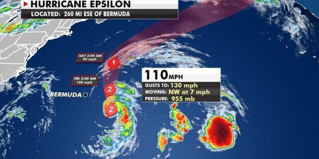 The forecast track of Hurricane Epsilon.